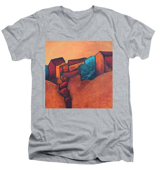 Mountain Village Men's V-Neck T-Shirt by Nancy Jolley