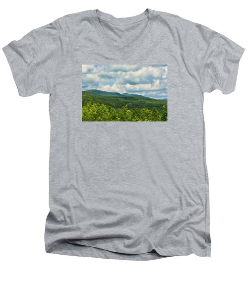 Mountain Vista In Summer Men's V-Neck T-Shirt by Nancy De Flon