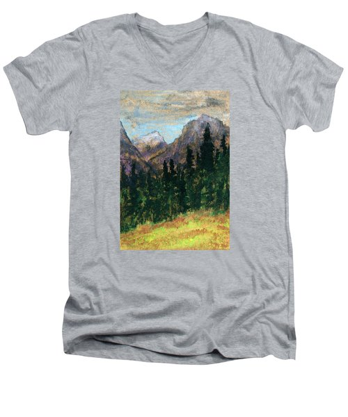 Mountain Vista Men's V-Neck T-Shirt by R Kyllo