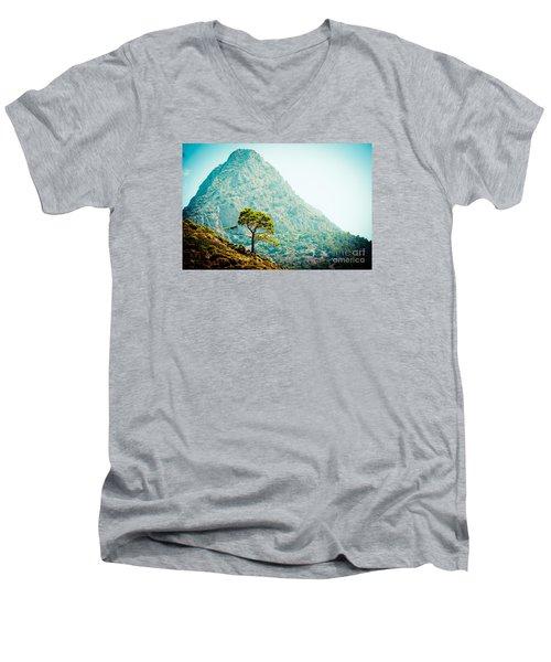 Mountain With Pine Artmif.lv Men's V-Neck T-Shirt