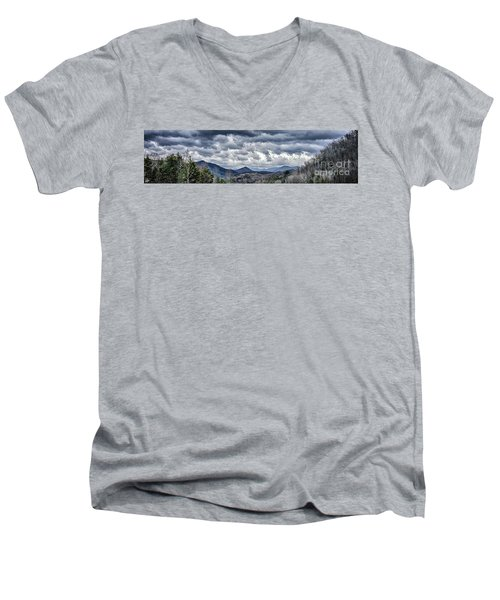 Men's V-Neck T-Shirt featuring the photograph Mountains 1 by Walt Foegelle