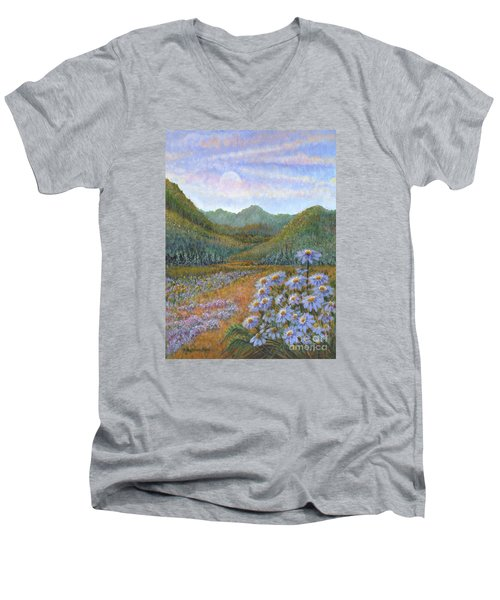Mountains And Asters Men's V-Neck T-Shirt by Holly Carmichael