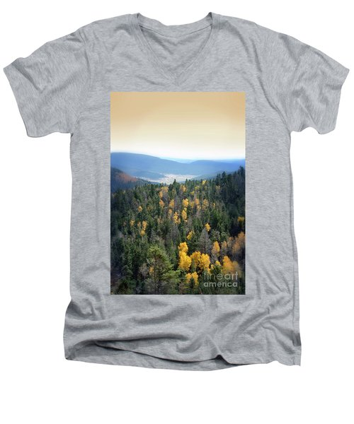 Men's V-Neck T-Shirt featuring the photograph Mountains And Valley by Jill Battaglia