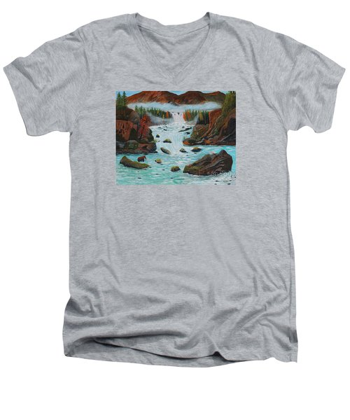 Men's V-Neck T-Shirt featuring the painting Mountains High by Myrna Walsh