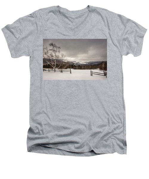 Mountains In Winter Men's V-Neck T-Shirt