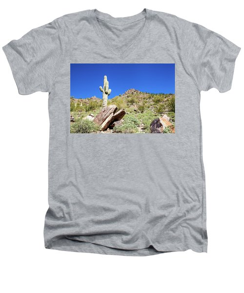 Men's V-Neck T-Shirt featuring the photograph Mountainside Cactus 2 by Ed Cilley