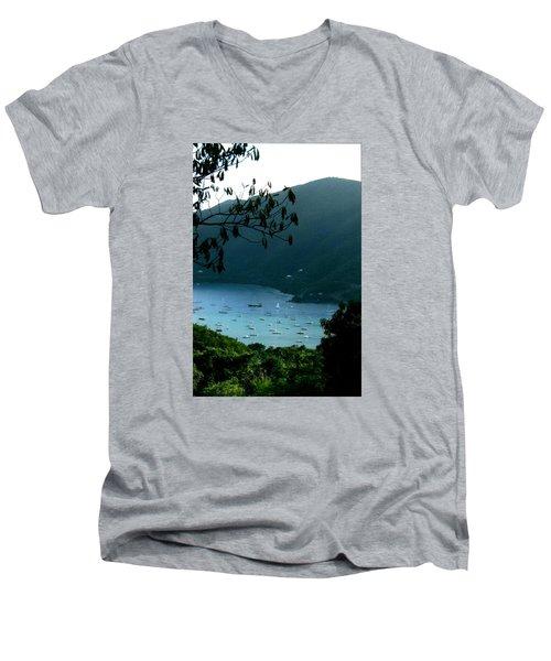 Mountainside Coral Bay Men's V-Neck T-Shirt by Robert Nickologianis