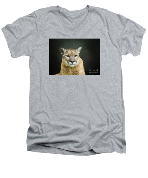 Mountian Lion Men's V-Neck T-Shirt by Suzanne Handel