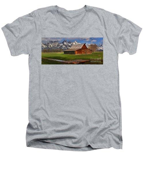 Mouoton Barn Footbridge Panorama Men's V-Neck T-Shirt by Adam Jewell