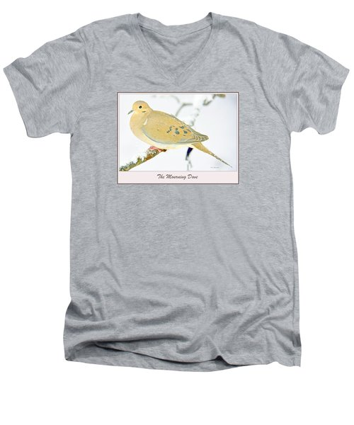 Men's V-Neck T-Shirt featuring the photograph Mourning Dove In Snow Animal Portrait by A Gurmankin
