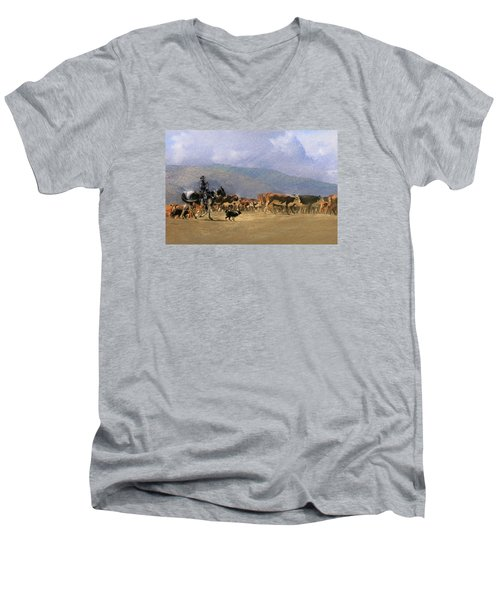 Move Em Out Men's V-Neck T-Shirt by Ed Hall