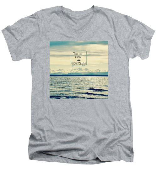 Move Mountains Men's V-Neck T-Shirt by Robin Dickinson