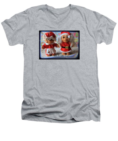 Mr And Mrs Santa Troll Men's V-Neck T-Shirt by Toni Hopper