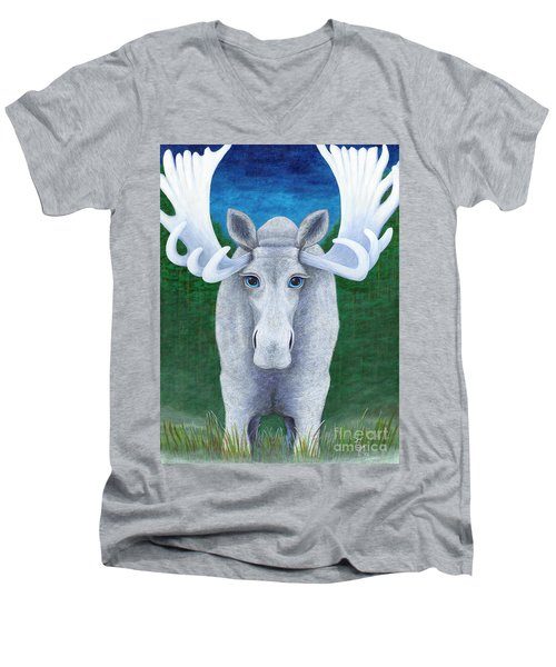 Men's V-Neck T-Shirt featuring the painting Mr. Moose by Rebecca Parker