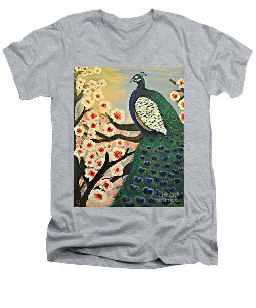 Mr. Peacock Cherry Blossom Men's V-Neck T-Shirt