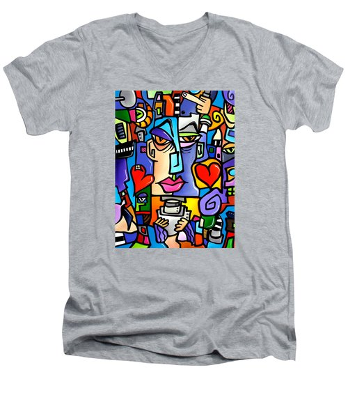 Mr Roboto Men's V-Neck T-Shirt by Tom Fedro - Fidostudio