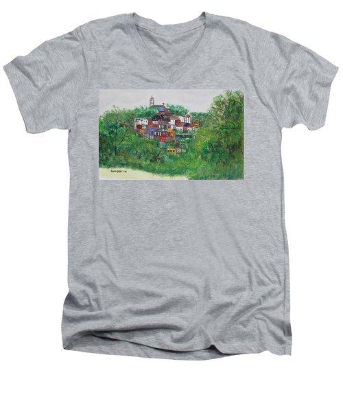 Men's V-Neck T-Shirt featuring the painting Mt. Adams  Cincinnati Ohio by Diane Pape