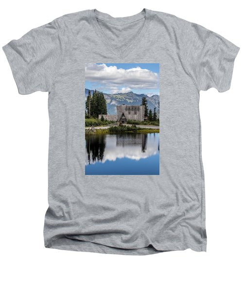 Mt Baker Lodge Reflecting In Picture Lake 3 Men's V-Neck T-Shirt by Rob Green
