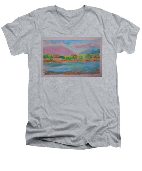 Men's V-Neck T-Shirt featuring the painting Mt Desert From Marlboro Beach by Francine Frank