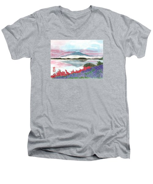 Mt. Fuji Morning Men's V-Neck T-Shirt
