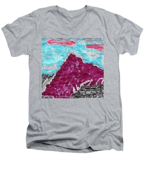 Mt. Fuji Village  Men's V-Neck T-Shirt by Don Koester