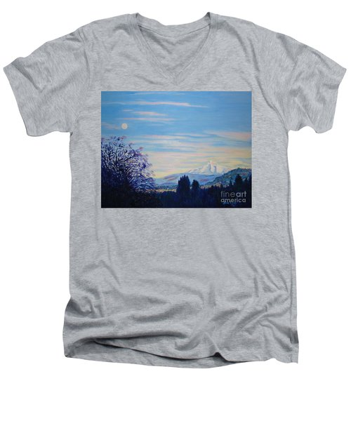 Mt Hood A View From Gresham Men's V-Neck T-Shirt by Lisa Rose Musselwhite