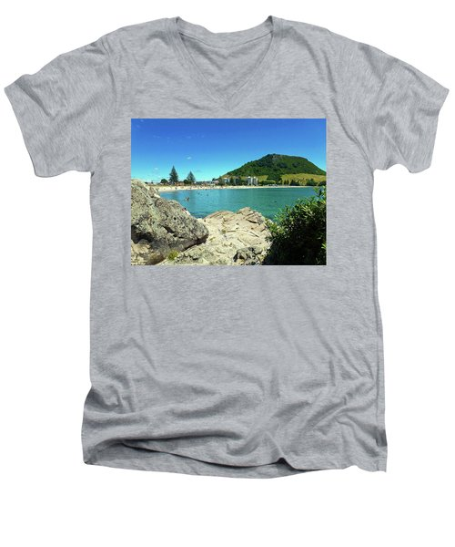 Mt Maunganui Beach 13 - Tauranga New Zealand Men's V-Neck T-Shirt by Selena Boron