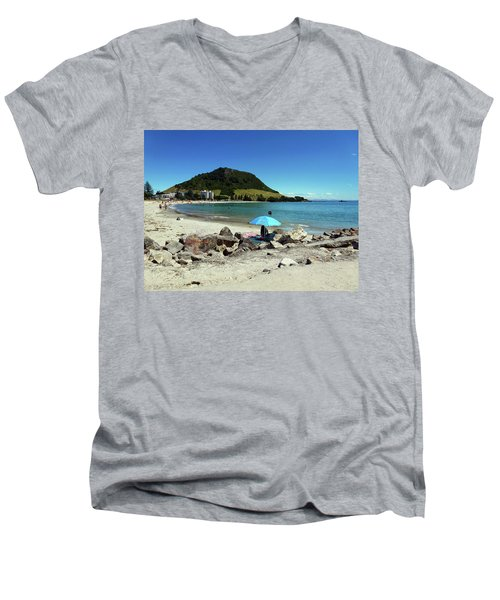 Mt Maunganui Beach 5 - Tauranga New Zealand Men's V-Neck T-Shirt by Selena Boron