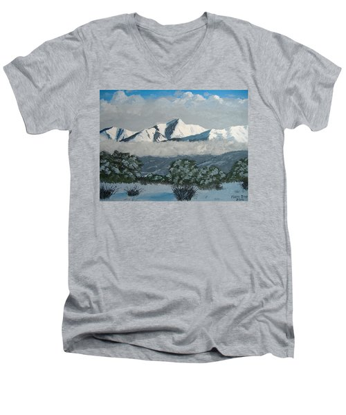 Men's V-Neck T-Shirt featuring the painting Mt Princeton Co by Norm Starks