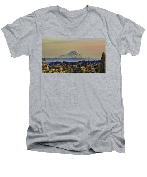 Mt Rainer Fall Color Rising Men's V-Neck T-Shirt