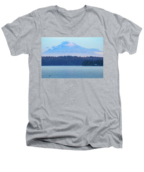 Mt. Rainier From Manchester Men's V-Neck T-Shirt