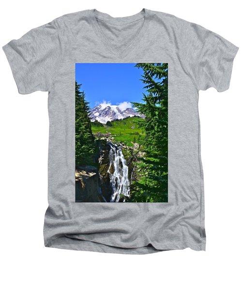 Mt. Rainier From Myrtle Falls Men's V-Neck T-Shirt