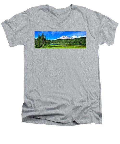 Mt. Rainier From Reflection Lakes Men's V-Neck T-Shirt