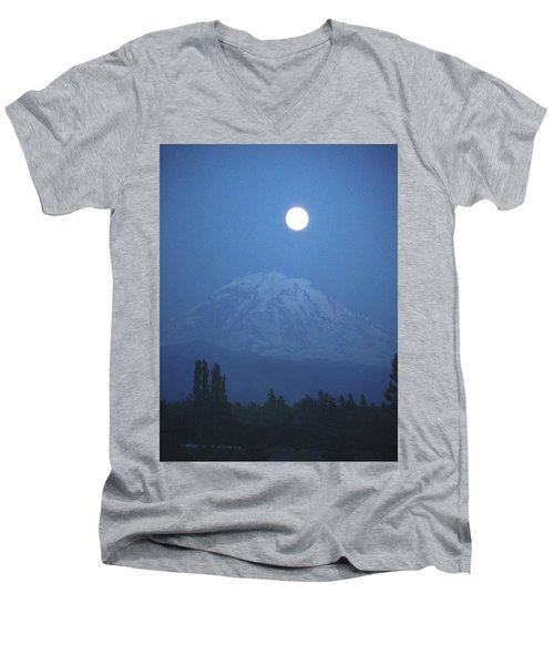 Mt Rainier Full Moon Men's V-Neck T-Shirt