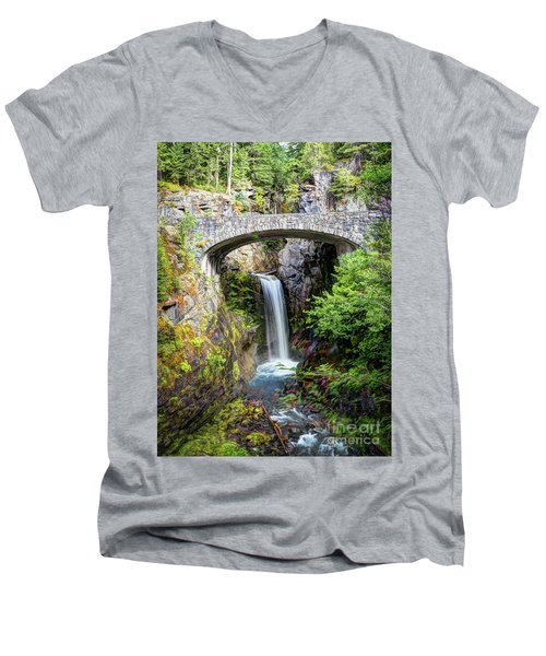 Mt Rainier National Park, Christine Falls Men's V-Neck T-Shirt