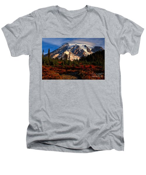 Mt. Rainier Paradise Morning Men's V-Neck T-Shirt by Adam Jewell