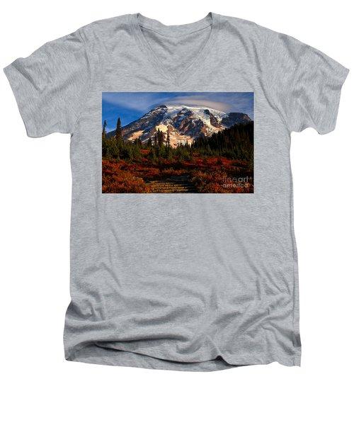 Mt. Rainier Paradise Morning Men's V-Neck T-Shirt