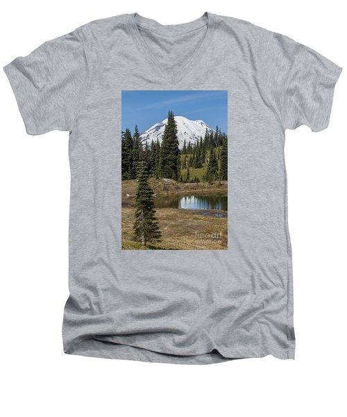 Mt Rainier Reflection Portrait Men's V-Neck T-Shirt