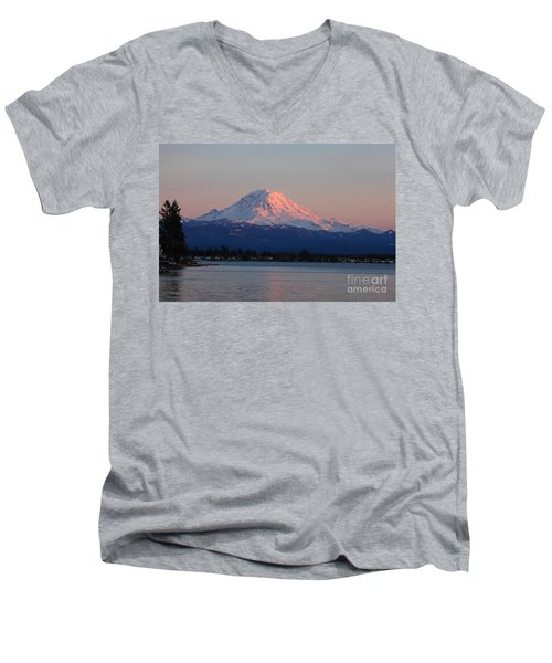 Men's V-Neck T-Shirt featuring the photograph Mt Rainier Sunset by Peter Simmons