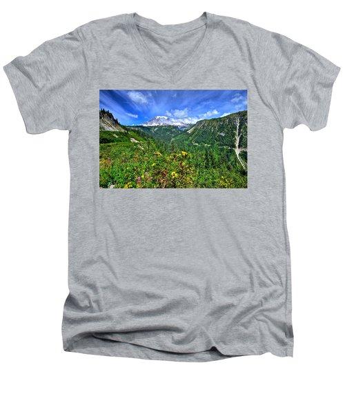 Mt. Rainier Through The Clouds  Men's V-Neck T-Shirt