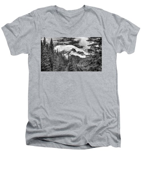 Men's V-Neck T-Shirt featuring the photograph Mt Rainier View - Bw by Stephen Stookey