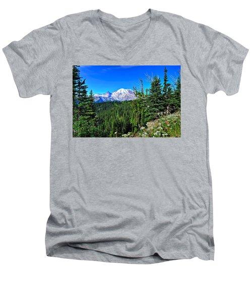 Mt. Rainier Wildflowers Men's V-Neck T-Shirt