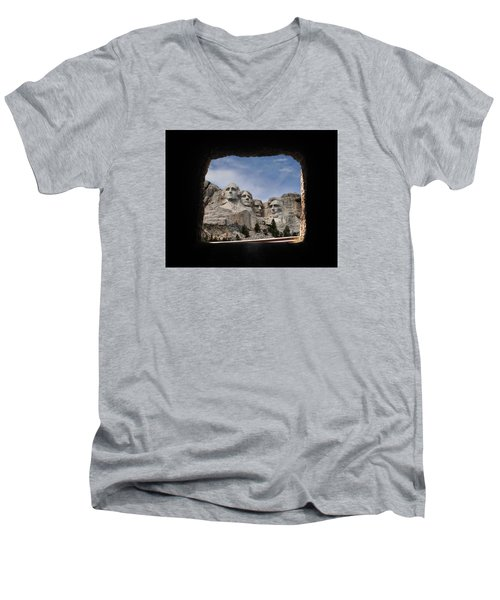 Men's V-Neck T-Shirt featuring the photograph Mt Rushmore Tunnel by David Lawson