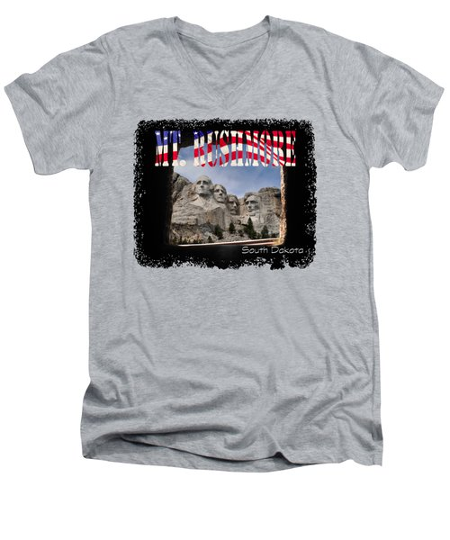 Mt. Rushmore -tunnel Vision Men's V-Neck T-Shirt by David Lawson