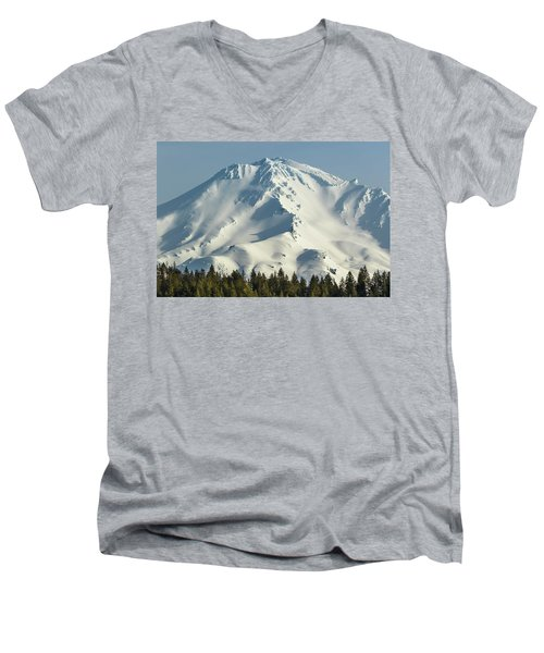 Men's V-Neck T-Shirt featuring the photograph Mt Shasta In Early Morning Light by Marc Crumpler