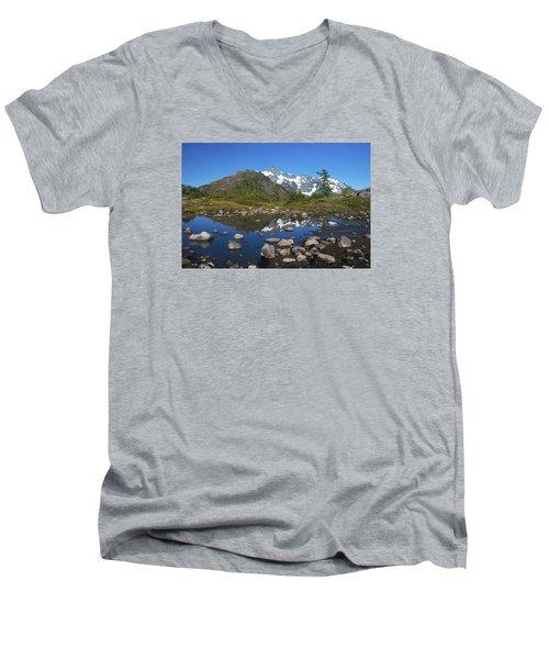 Mt. Shuksan Puddle Reflection Men's V-Neck T-Shirt by Scott Cunningham