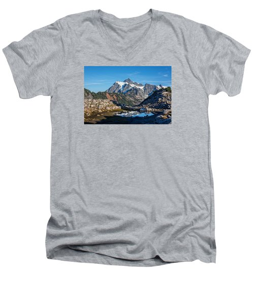 Mt. Shuksan Men's V-Neck T-Shirt by Sabine Edrissi Photography