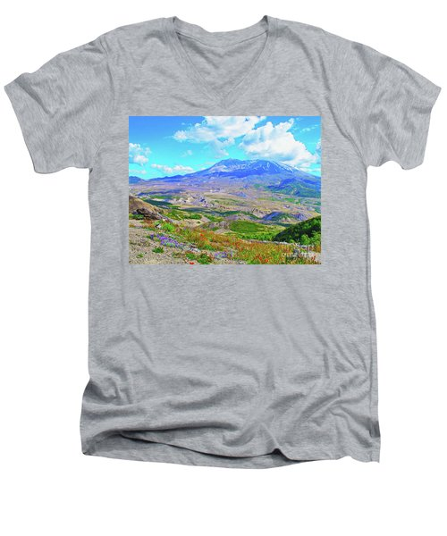 Mt. St. Helens Wildflowers Men's V-Neck T-Shirt by Ansel Price