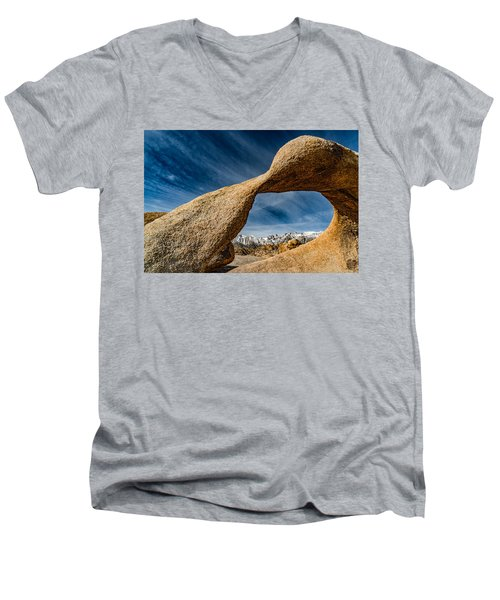 Mt Whitney Through Mobius Arch Men's V-Neck T-Shirt