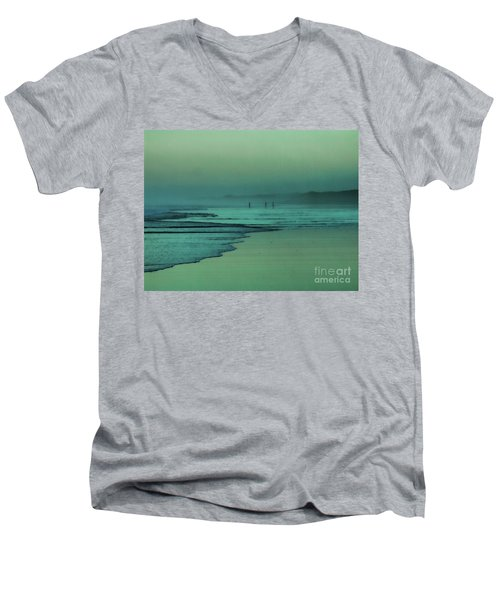 Muawai Sunset Men's V-Neck T-Shirt by Karen Lewis